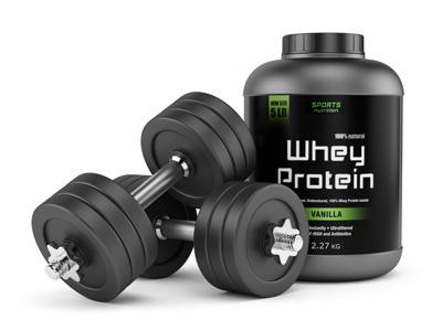 Whey Protein Dose und Hanteln